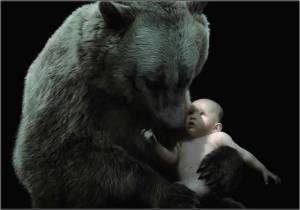 oso acuna bebé