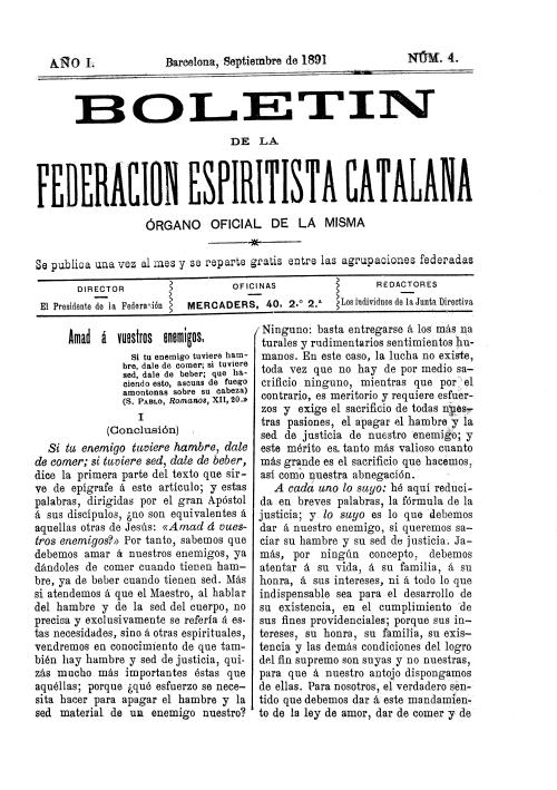 Boletín de la Federación Espiritista Catalana