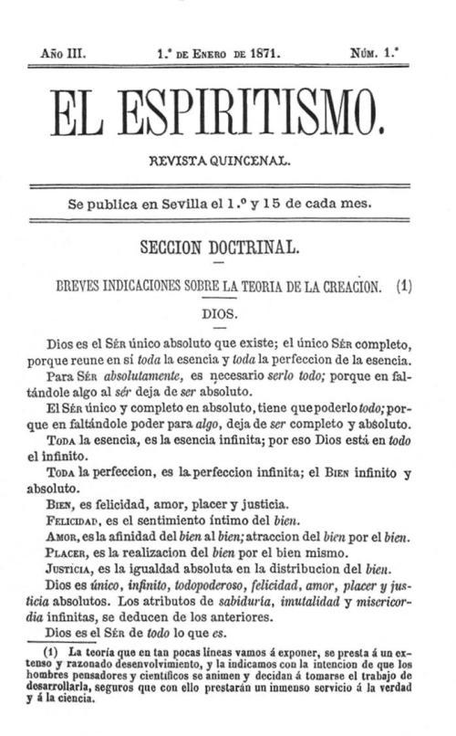 Carátula El Espiritismo de Sevilla