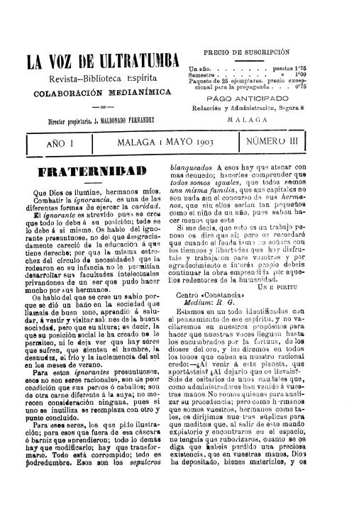 Carátula revista La Voz de Ultratumba