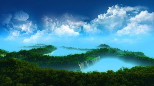 Las-cascadas-bosque-cielo-azul-nubes-blancas