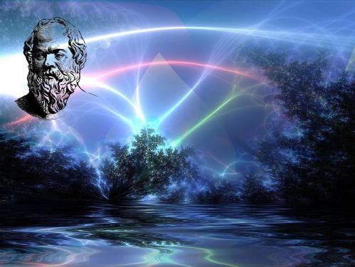 Socrates sobre fondo de luces