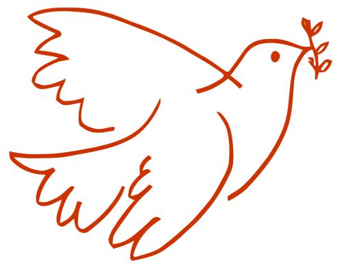 Paloma de la paz naranja oscuro