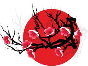 Flores y fondo rojo