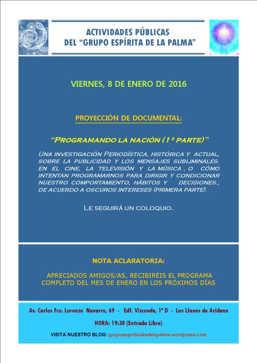 ACTIVIDAD PÚBLICA DEL GRUPO ESPÍRITA DE LA PALMA - VIERNES 8 DE ENERO DE 2016